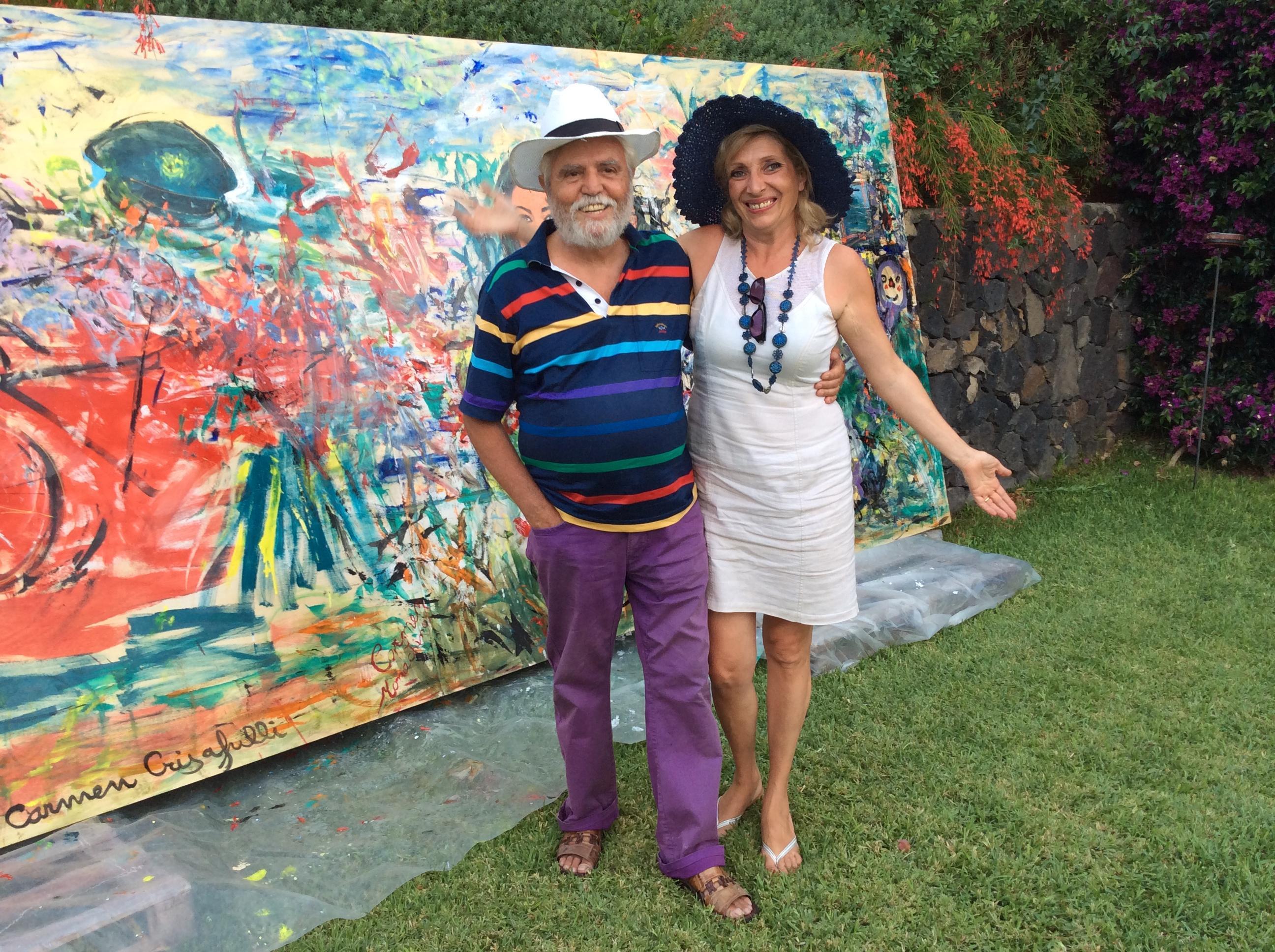 il maestro Salonia e l'artista Lidia Monachino